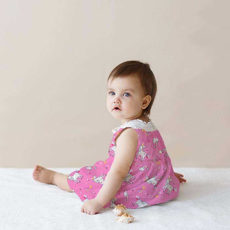 Coton rose bonbon motif licorne surya