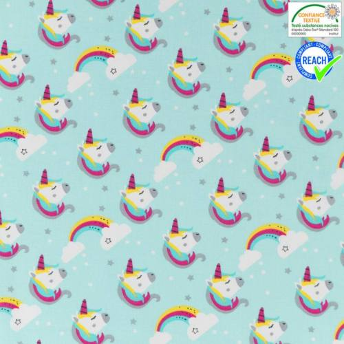 Coton turquoise motif licorne lily