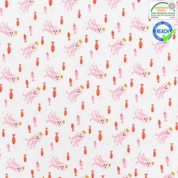 Coton blanc motif poulpi rose