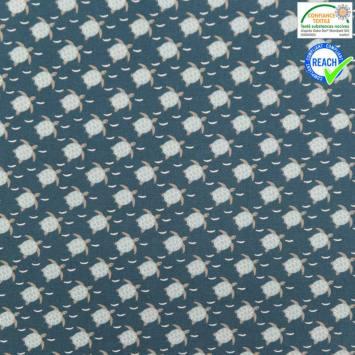 Coton bleu foncé motif ninja bleu ciel et gris