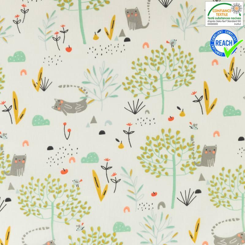 Coton écru motif chat et arbre vert d'eau et ocre