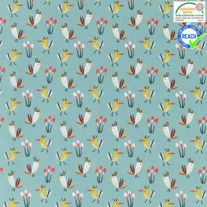 Coton bleu givré motif petit oiseau ocre