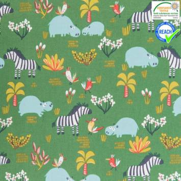 Coton vert motif hipps multicolore