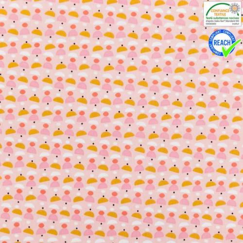 Coton rose motif cuppa corail et ocre