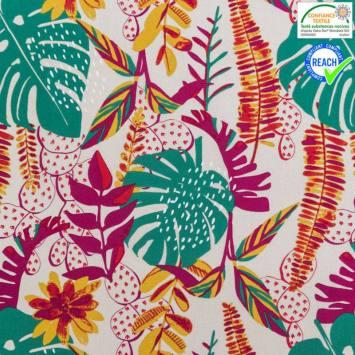Coton couleur lin motif dyckia multicolore