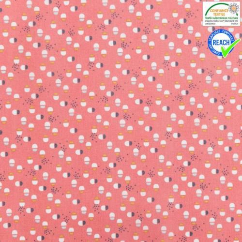 Coton corail motif torid ocre et bleu