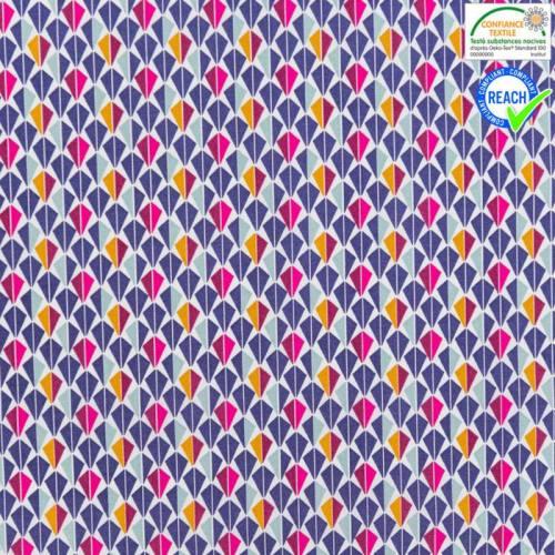 Coton blanc motif odeca violet et fushia