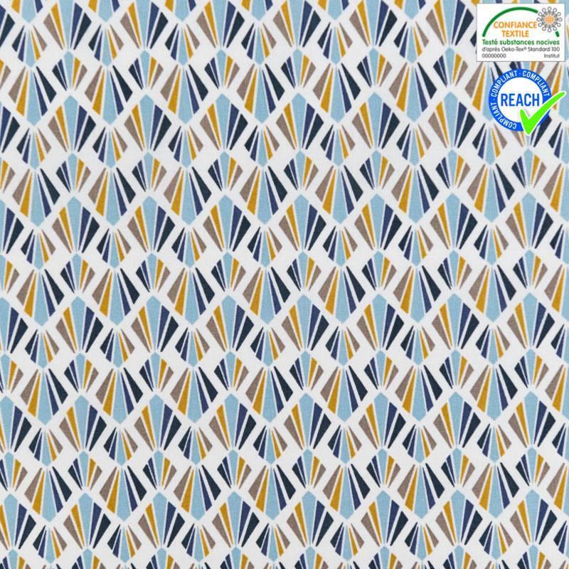 Coton blanc motif payani bleu givré et bleu marine