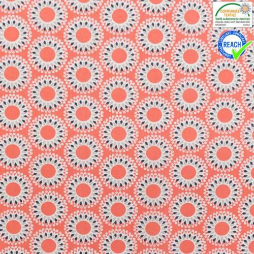 Coton saumon motif malawa grège et anthracite