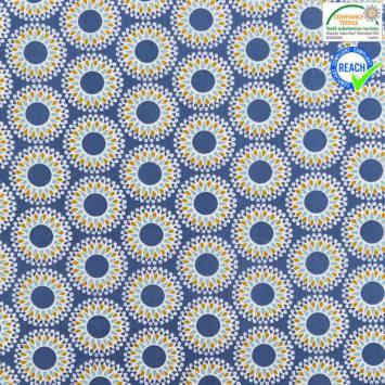 Coton bleu motif malawa ocre et turquoise