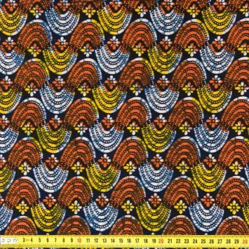 Wax - Tissu africain bleu, jaune et orange 263