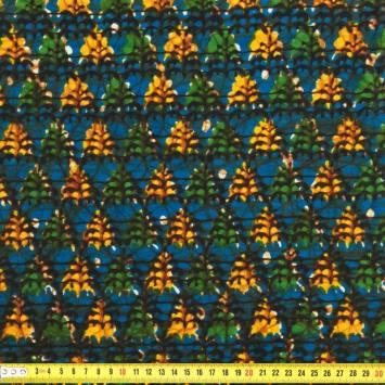 Wax - Tissu africain jaune, bleu et vert 259