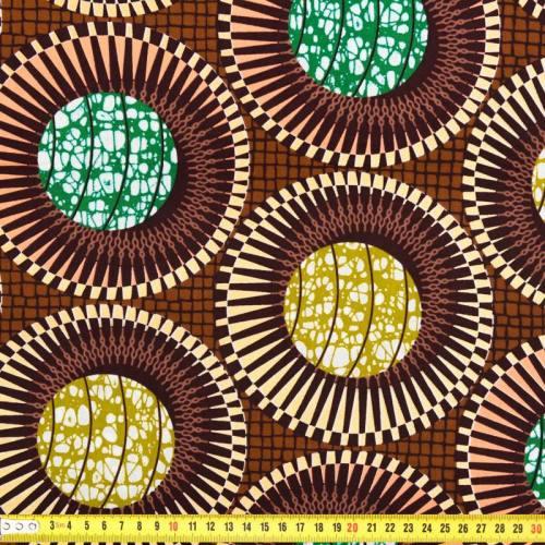 Wax - Tissu africain marron, vert et doré 255