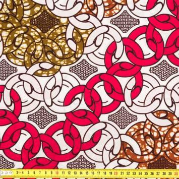 Wax - Tissu africain blanc marron et rose 251