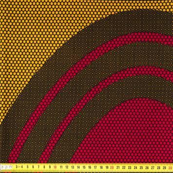 Wax - Tissu africain jaune rouge et noir 247