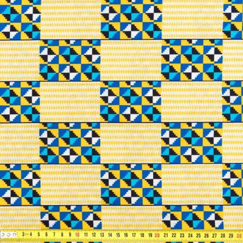 Wax - Tissu jaune, bleu et doré 274