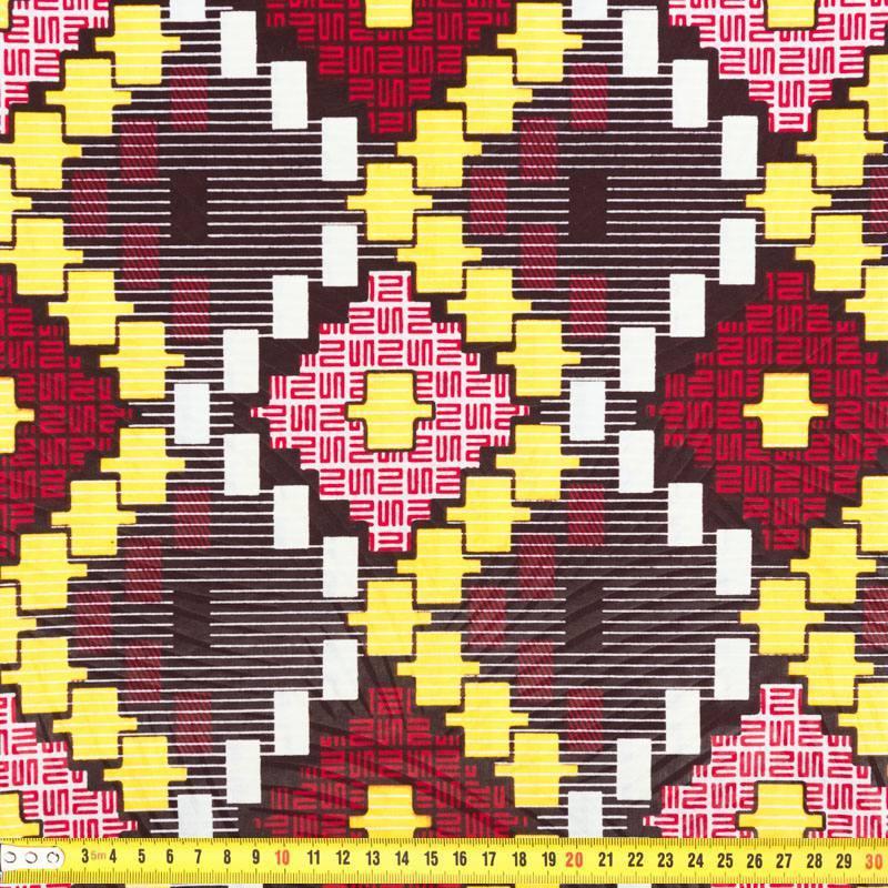 wax tissu africain enduit marron jaune et rouge 279. Black Bedroom Furniture Sets. Home Design Ideas