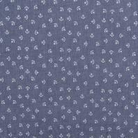 coupon - Coupon 70x140cm - Tissu jean chambray motif ancres blanches