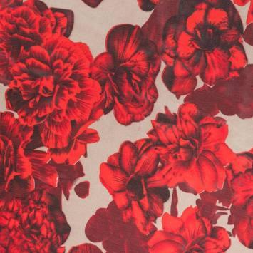 coupon - Coupon 1.3m - Mousseline de crêpe beige fleurs rouges