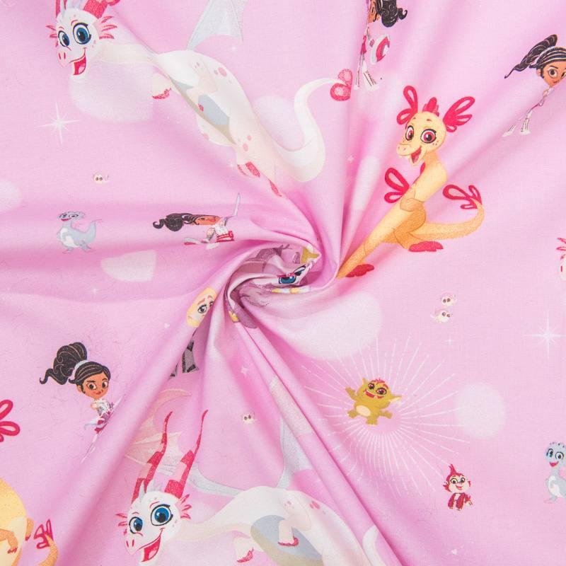 Coton Nickelodeon rose clair Nella princesse chevalier et dragons