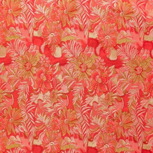 Satin asiatique rouge motif floral rouge et vert