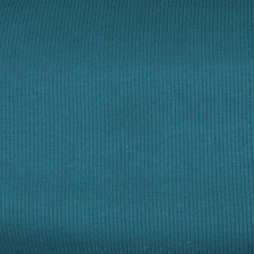 Tissu tubulaire bord-côte maille bleu canard