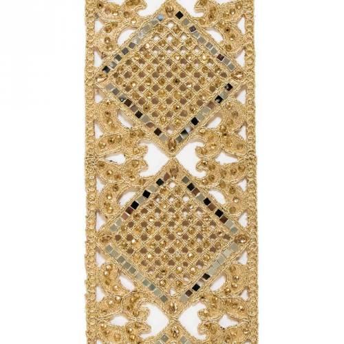Galon indien arabesques dorées et miroirs