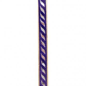 Galon indien doré et violet miroir courbe