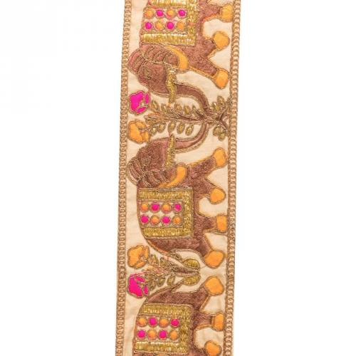 Galon indien doré motif éléphant rose et orange