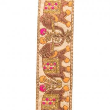 Galon indien doré motif éléphant rose et orange
