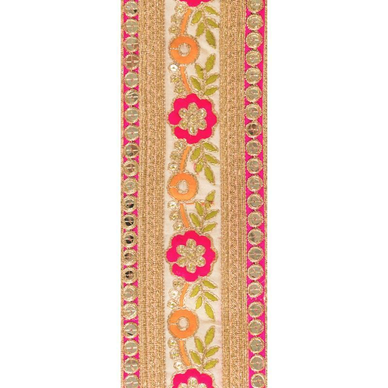 Galon indien doré motif fleur rose et orange