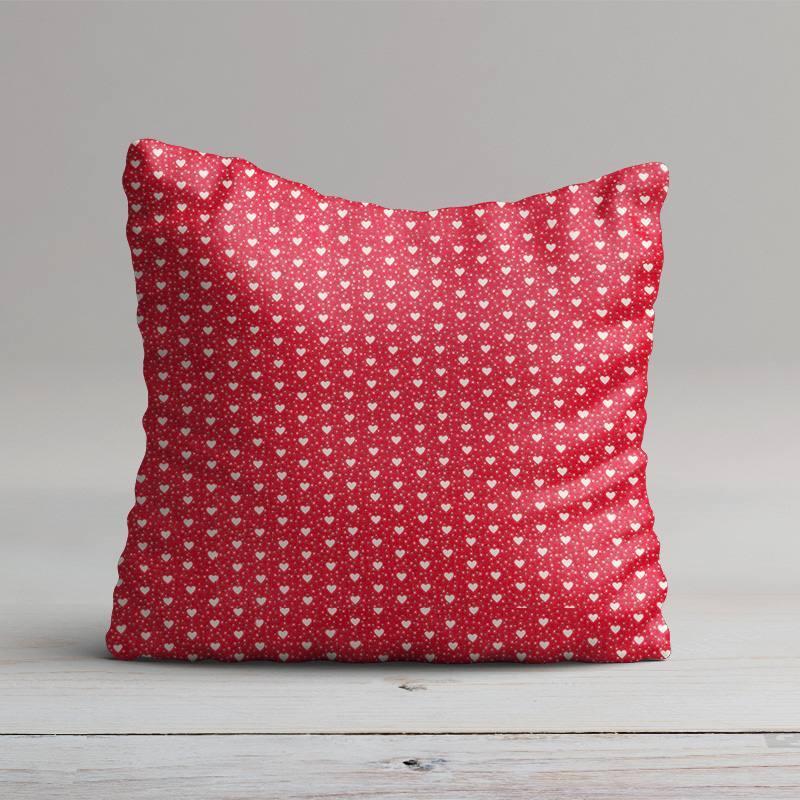 Coussin coton rouge imprimé coeur et point