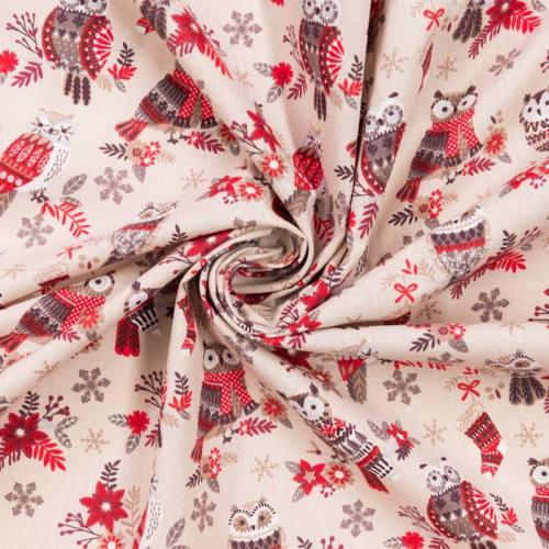 Coton grège imprimé hibou d'hiver