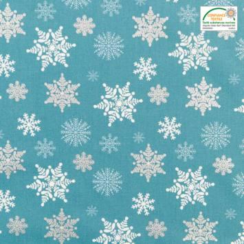 Coton bleu imprimé flocon de neige