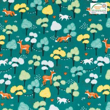 Coton bleu imprimés animaux et forêt