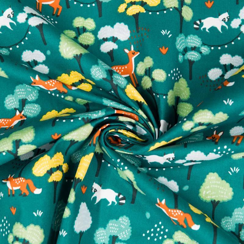 Coton vert sarcelle imprimés animaux et forêt