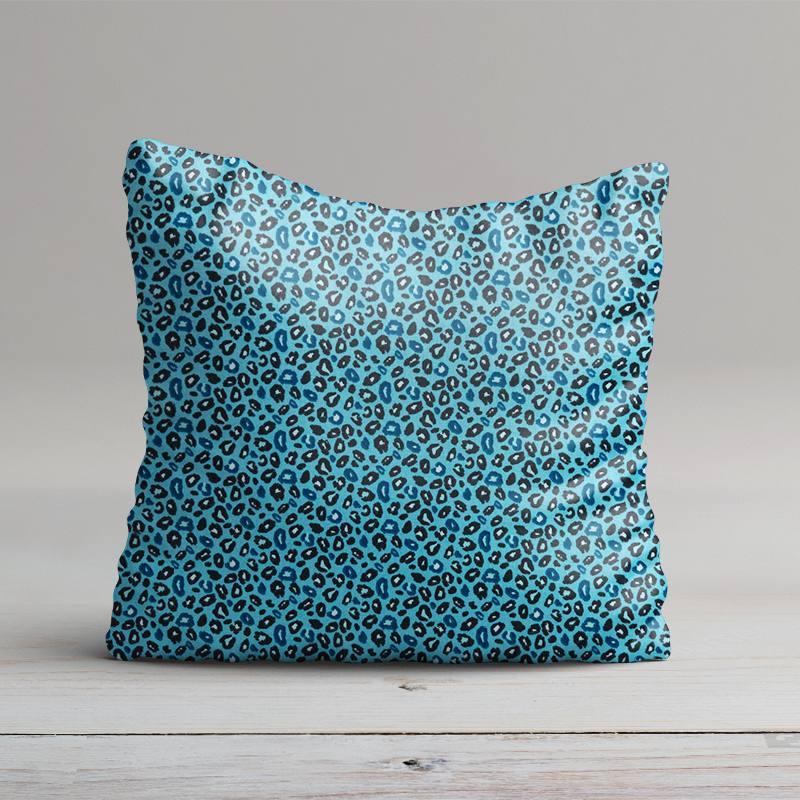 Coton bleu imprimé léopard