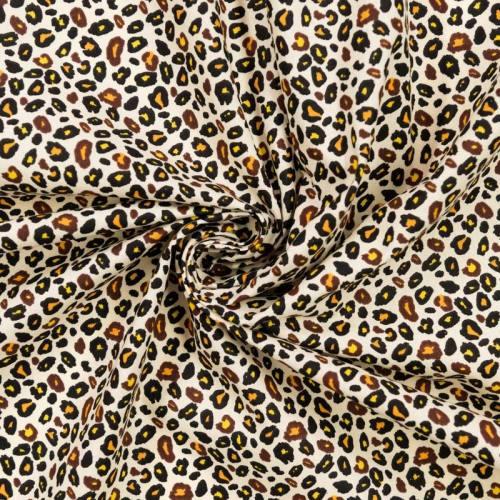 Coton écru imprimé léopard