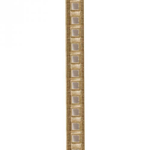 Galon indien doré miroirs carrés beiges