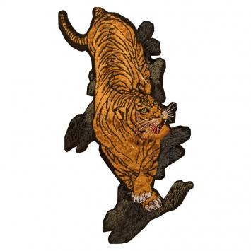 Écusson XL thermocollant brodé tigre 15x30cm