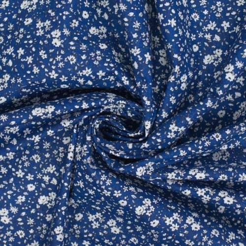 coupon - Coupon 0.60m - Coton liberty bleu et blanc