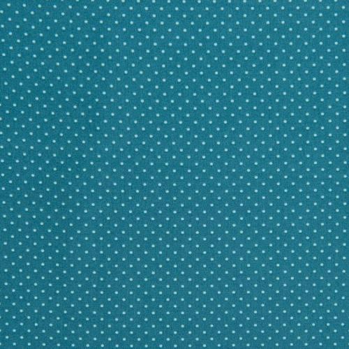 coupon - Coupon 0.64m - Popeline de coton bleu pétrole imprimée pois