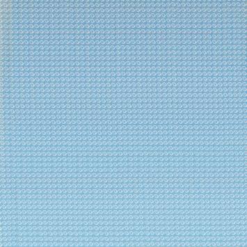 Coton turquoise motif vague