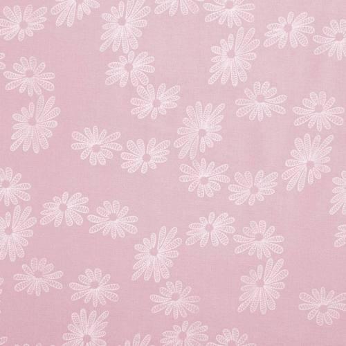 coupon - Coupon 0.74m - Voile de coton rose dragée motif fleur