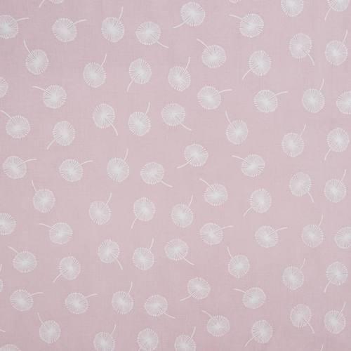 coupon - Coupon 0.57m - Voile de coton rose dragée motif pissenlit