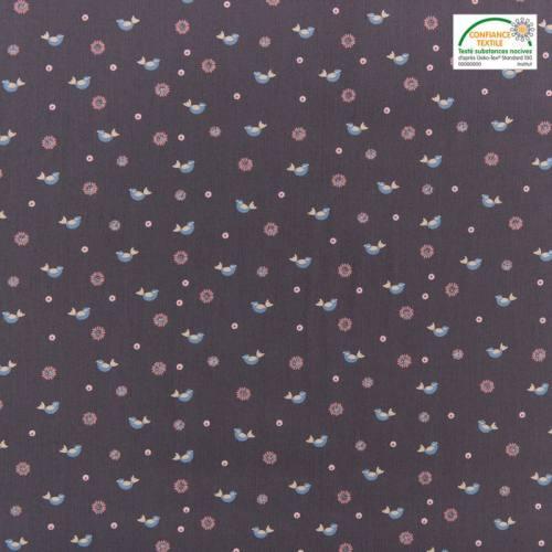 Popeline de coton grise motif fleur et oiseau