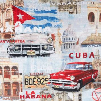 Toile polycoton motif Cuba