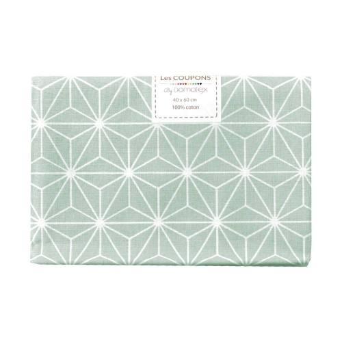 Coupon 40x60 cm coton vert d'eau motif asanoha