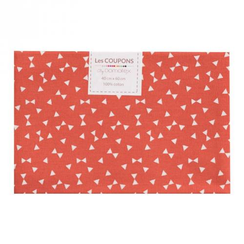 Coupon 40x60 cm Coton rouge brique imprimé petit triangle blanc
