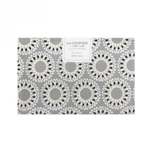 Coupon 40x60 cm coton gris malawa